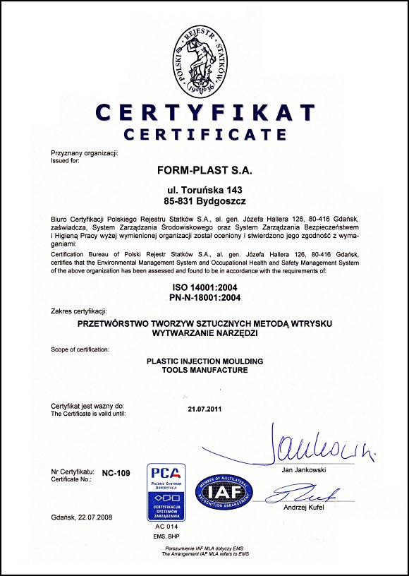 Certyfikat Zarządzania Bezpieczeństwem i Higieną Pracy